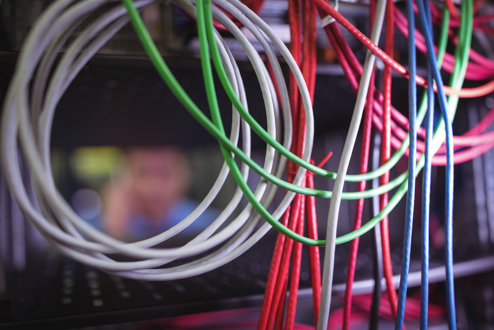 Close-up of cable and wires in laboratory server room